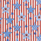 America Home of the Brave - Striped Stars Red Yardage