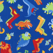 Dino Parade - Tossed Dinos Royal Yardage