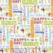 Let's Celebrate - Celebration Words White Yardage