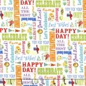 Let's Celebrate - Celebration Words White Yardage