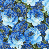 Enchanted - Packed Roses Blue Metallic Yardage