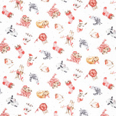 Warm Wishes - Tossed Animals Ultra White Yardage