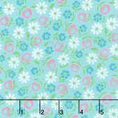 Good Day! - Bursting Blooms Turquoise Yardage