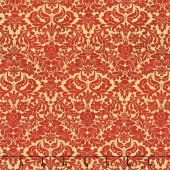 Shiny Objects - Holiday Twinkle Dazzling Damask Scarlet Metallic Yardage