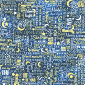 I Love You to the Moon & Back - Text Yellow Yardage