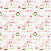 Holiday Heartland - Holiday Words on White Ground Multi Yardage