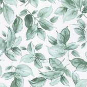 Watercolor Hydrangeas - Leaves Blue Teal Yardage