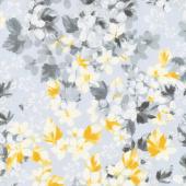 Limoncello - Bouquet Dove Gray Pearlized Yardage
