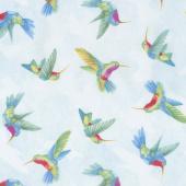 Humming Along - Hummingbirds Blue Yardage