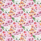 Orchids in Bloom - Orchids Pink Multi Digitally Printed Yardage