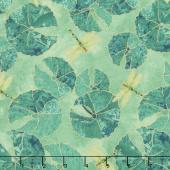 Shimmer Koi Pond - Lily Pad Green Metallic Yardage