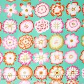 Kaffe Collective - Pastel Button Flowers Aqua Yardage