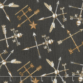 Love 4 Cotton - Weathervanes Dark Brown Yardage