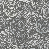 Shiny Objects - Precious Metals Candied Roses Radiant Platinum with Black Glitter Yardage