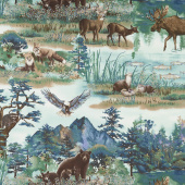 Woodland Wonders - Scenic Animals Spruce Yardage