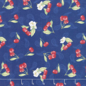 Berry Sweet - Tossed Cherries Blue Yardage