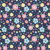 Flutter and Shine - Floral Navy Yardage