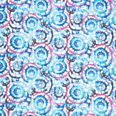 "Spin Art - Blue Fuchsia Digitally Printed 108"" Wide Backing"