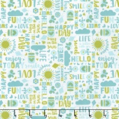 Happy Day - Happy Words Aqua Yardage