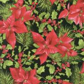 Poinsettia & Pine - Poinsettia Mixed Floral Black Yardage