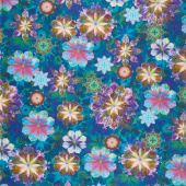 Venice - Flowers Teal Digitally Printed Yardage