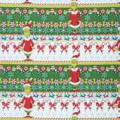 How the Grinch Stole Christmas - Grinch White Candy Stripe Yardage
