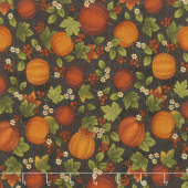 Harvest Berry - Harvest Pumpkin Black Multi Yardage