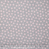 Cozy Cotton Flannels - Small Flower Grey Pink Yardage