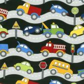 Traffic Jam - Roads Black Yardage