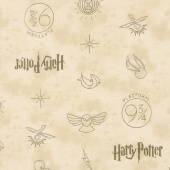 Wizarding World - Harry Potter Symbols in Tan Yardage
