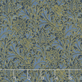 "Morris Holiday 1897 - Thistle Indigo 108"" Metallic Backing"