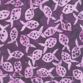 Coastal Getaway Batiks - Polka Dot Fish Deep Violet Yardage
