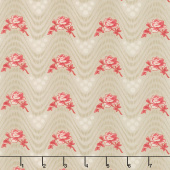 Northport Prints - Wavy Floral Tan Red Yardage
