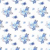 Blue Stitch - Floral White Yardage