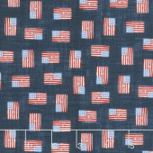 All American Road Trip - Mini Flag Navy Yardage