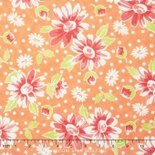 Coney Island - Daisy Blooms Orange Sherbet Yardage