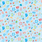 Beside the Sea - Icon Scatter Blue Yardage