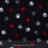 Scotty Love - Love Those Paws Black Flannel Yardage