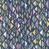 Sew Retro - Triangles Navy Yardage