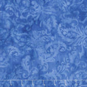 French Blue Batiks - Paisley Floral Bluebird Yardage