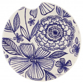 Indigo Patterns Car Coaster - Mixed Flowers