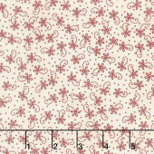 The Little Things - Lazy Daisy Twirl Natural/Red Yardage