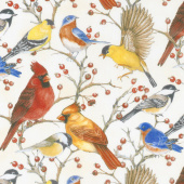 Bird Song -  Allover Birds Cream Digitally Printed Yardage