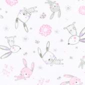 "Cuddle Prints - Bunny Hop Blush 60"" Minky Yardage"