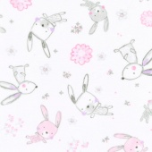 "Cuddle Prints - Bunny Hop Blush 60"" Minky Yardage"