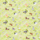 Barnyard Buddies - Animal Noises Lime Yardage