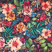 Brightly Blooming - Flower Party Navy Digitally Printed Yardage