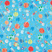 All Systems Glow - Intergalactic Planets Sky Blue Glow in the Dark Yardage