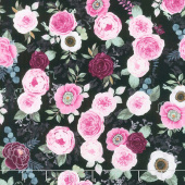 Botanical Oasis - Small Floral Black Yardage