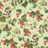 Briarwood - Feature Berries and Butterflies Green Multi Yardage